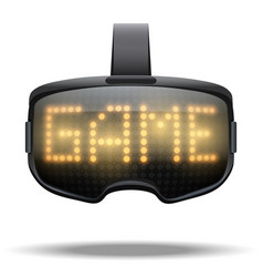 Vr goggles game headset with light effect vector