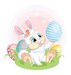 White easter bunny looking at easter egg vector