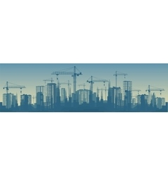 Wide banner of buildings under vector image