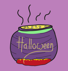 Witches cauldron with potion isolated on vector