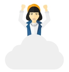 Woman sitting on cloud vector