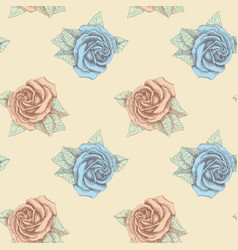 blue and pink roses seamless hand drawn vector image