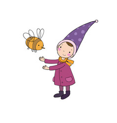 cute little gnome and a bumblebee isolated vector image vector image