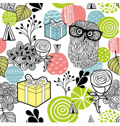 cute owl and gifts background vector image