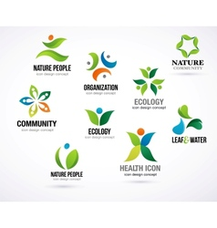 green nature symbols elements and icons vector image vector image