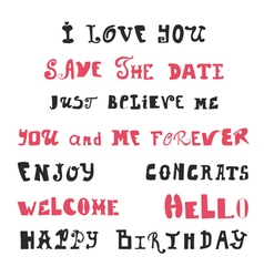 Hand drawn lettering calligraphy Wedding vector image