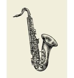 Jazz music Hand drawn sketch saxophone musical vector image