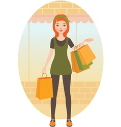 Woman with shopping vector image