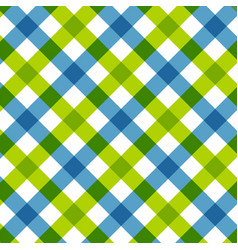 blue green diagonal checkered retro tablecloth vector image