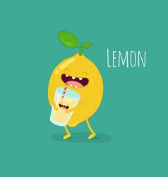 funny lemon with juicer and glass of lemonade vector image