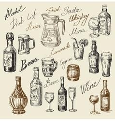 hand drawn beverages sketch vector image vector image