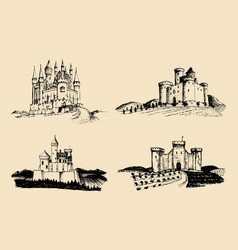 old castles set hand drawn vector image vector image
