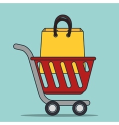 shopping cart and bag icon vector image