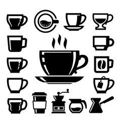 black coffee icons vector image
