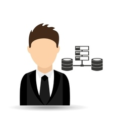 character man with computer server data design vector image vector image