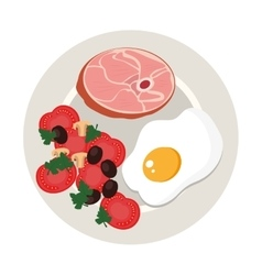 dish with meat and egg vector image