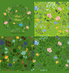 green floral round and seamless patterns set vector image vector image