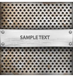 metal background with plate for text vector image