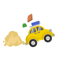 picture isolated of a small yellow car that vector image vector image