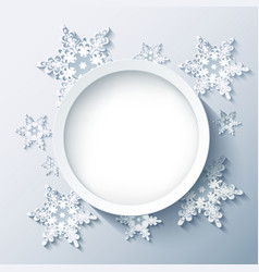 Winter grey background wallpaper with 3d snowflake vector image vector image