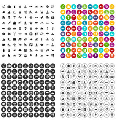 100 beach icons set variant vector image