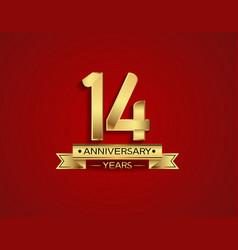 14 years anniversary golden design color vector