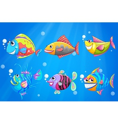 A group of colorful smiling fishes vector