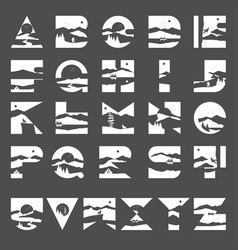 alphabet landscape with silhouette mountain vector image