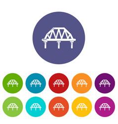 arched train bridge icons set color vector image