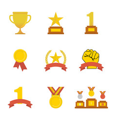 Award icon golden cups for winners sport trophy vector