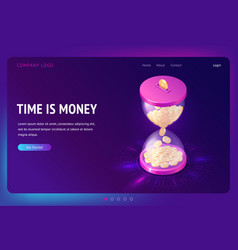 Banner time is money concept vector