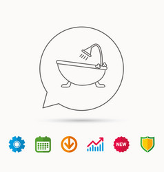 bathroom icon bath with shower sign vector image