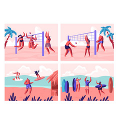 Beach volleyball and surfing set people playing vector