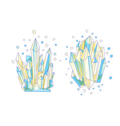 Blue and yellow crystal cartoon cute vector