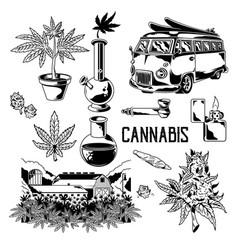 Cannabis set elements vector