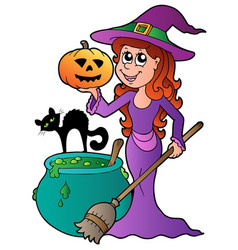 cartoon halloween witch with cat vector image