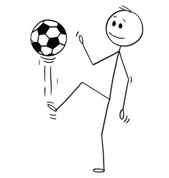 cartoon of football or soccer player juggling or vector image