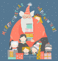 cartoon santa claus with children and gifts vector image