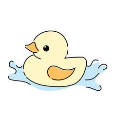 cartoon yellow duckling toy duckling vector image