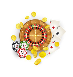 Casino symbols - roulette chips cards coins vector