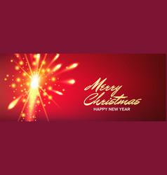 christmas banner fireworks salute header vector image