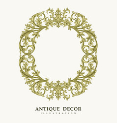 Classical antique gold frame vector