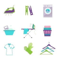 Cleaning Tools Icons in Flat Color Style vector image