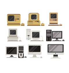 computers set pc evolution from obsolete to vector image