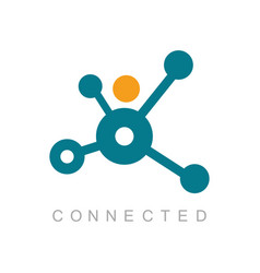connected technology logo vector image