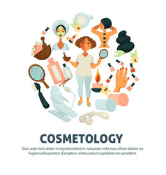 Cosmetology and woman beauty salon poster vector