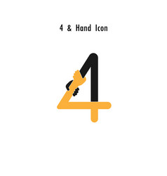 Creative 4- number icon abstract and hands icon vector