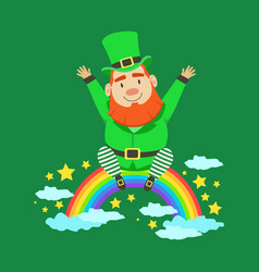 cute cartoon dwarf leprechaun sitting on a rainbow vector image