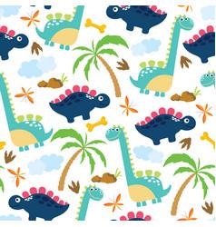 cute dino seamless pattern vector image