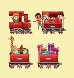 Cute kids in train cartoon vector